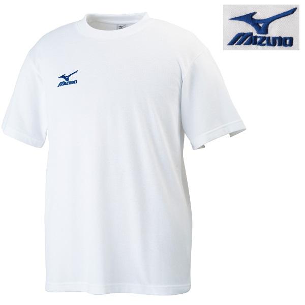 ミズノ 柔道 ワンポイント刺繍Tシャツ ホワイト×ブルー(72)