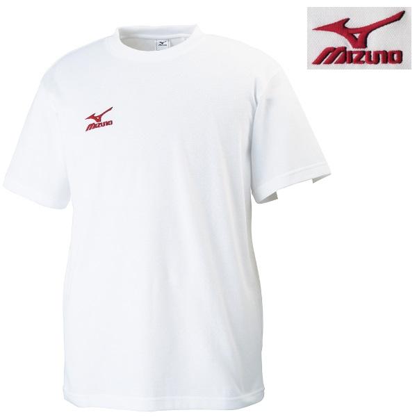 ミズノ 柔道 ワンポイント刺繍Tシャツ ホワイト×レッド(76)
